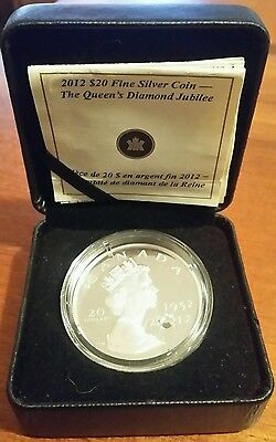 Rare - 2012 Canadian $20 Proof Fine Silver Proof Coin Queen Diamond