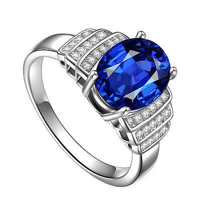 Elegant Women Round Cut  2.25ct Blue Sapphire 925 Silver Ring Size 7