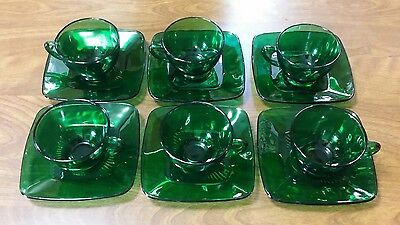 Lot Of 12 Vintage Anchor Hocking Charm Forest Green 6 Cups & 6 Saucers