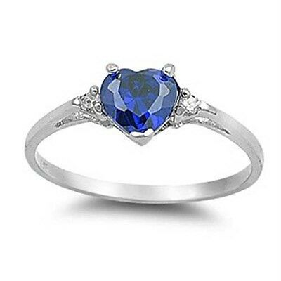 Fashion Heart Shape 1.85ct Blue Sapphire 925 Silver Wedding Ring Size 10