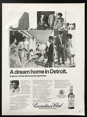1973 Vintage Print Ad 1970s CANADIAN CLUB Detroit Dream Home Liquor Party