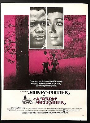 1973 Vintage Print Ad A WARM DECEMBER Sidney Poitier Movie Release Advert