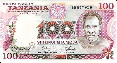 1977 Benky Kuu Ya Tanzania - Tanzania 100 Shillings in UNC Condition Pick: 8c