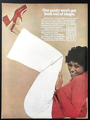 1973 Vintage Print Ad 1970s SEARS PANTS Woman's Fashion Style Red