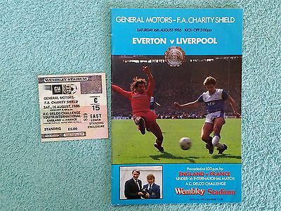 1986 - CHARITY SHIELD PROGRAMME + MATCH TICKET - EVERTON v LIVERPOOL