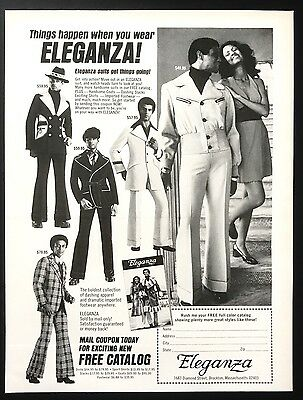 1973 Vintage Print Ad 1970s ELEGANZA Men's Fashion Clothing Suits Shoes