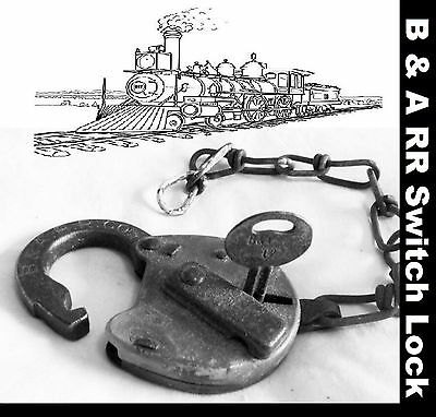 RARE  Baltimore and Annapolis Railroad Co. 2-1/2 Steel Switch Lock - B & A RR Co