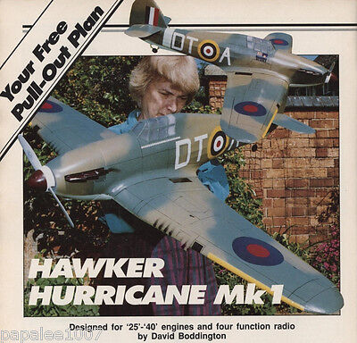 "Model Airplane Plans (RC): Hawker Hurricane Mk I 48"" 1/10 Scale for .25-.40"