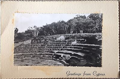 "GREETINGS FROM CYPRUS 1950's ""SALAMIS FAMAGUSTA"" DOUBLE FOLDED OLD MINT POSTCARD"