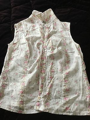 New Look Floral Sleeves Cotton Summer Blouse Size 12