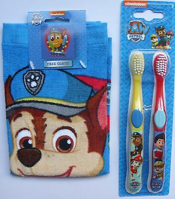 Paw Patrol - Double Toothbrush & Face Cloth Set - Nickelodeon - New