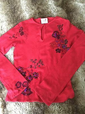Ladies Red Party Jersey Top With Sequins Size 10 Next