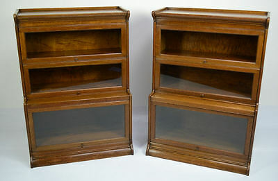 Pair Of Antique / Oak Globe Wernicke Barristers Bookcases Circa 1900