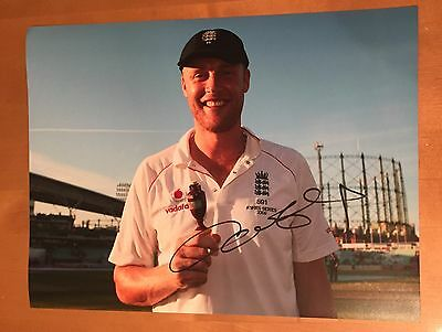 SIGNED FREDDIE FLINTOFF 16x12 ENGLAND ASHES PHOTO HAND SIGNED WITH PROOF & COA