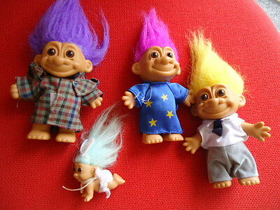 Russ~~A Collection of Rare Trolls 1980's~3 Trolls with Clothes & a Baby Troll