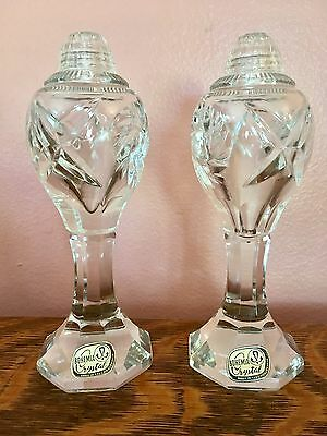 Vintage Bohemia Czech Republic Cut Crystal Large Salt And Pepper Shakers-Marked