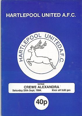 Hartlepool United v Crewe Alexandra, 29 September 1984, Division 4
