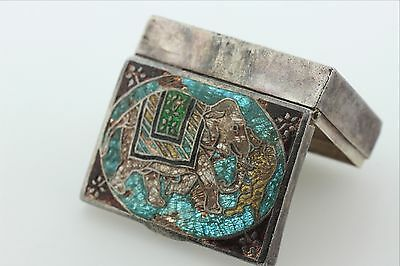 Antique Hand-Painted Enamel India Sterling Silver Elephant & Tiger Trinket Box