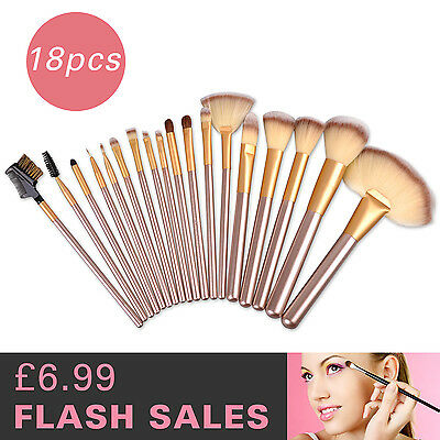 18pcs Mixed Colour Make up Brushes Set Cosmetic Foundation Powder Kit Pouch Case