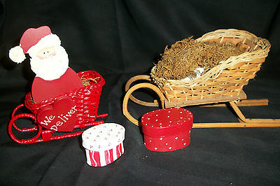 """Lot of 2~Decorative~Holiday Wicker Sleigh~ 5-3/4"""" and 9"""" ~Craft~Floral~Christmas"""