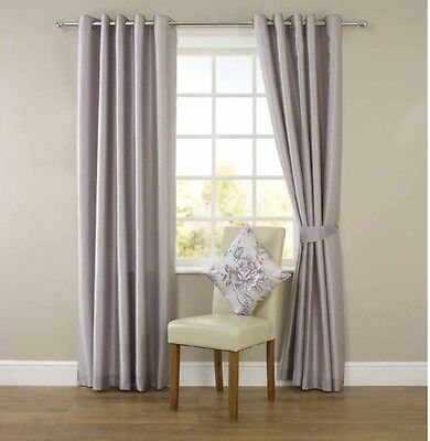 "Silver/grey Faux Silk Ring Top Eyelet Curtains 90 X 90"" Fully Lined"