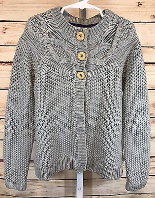 MINI BODEN Girls Long Sleeve Button Front Sweater Cape Gray Acrylic Size 9-10Y