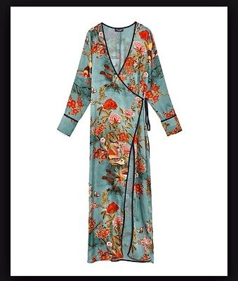Zara New Long Printed Kimono Dress Jacket Size M Uk 10 2912/987