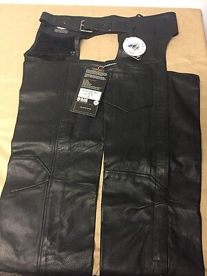 Black Brand BB3084 Men's Leather Degree Chaps Motorcycle Chaps Black, Large