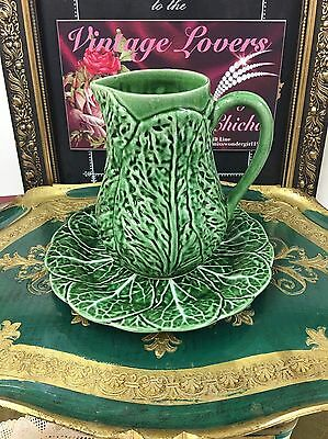 """Vintage Majolica Style Cabbage Leaf Jug /pitcher 7.5"""" Tall Germano Portugal"""