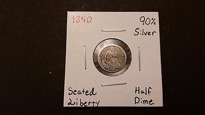 1840 Seated Liberty Half Dime! 90% Silver! Free Shipping!