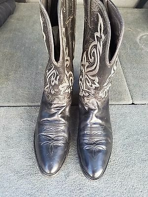 Justin Black Leather Cowboy Boots Men's Size 11 D