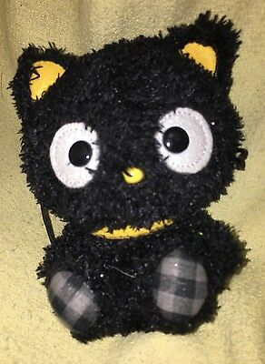 RARE HTF Sanrio Chococat Black PLAID Feet  YELLOW Ears Fuzzy FURRY plush Cat