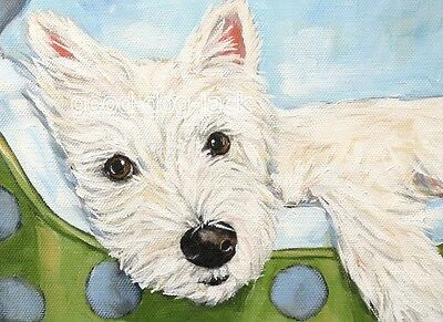 """West Highland Terrier ACEO WESTIE PRINT Painting """"HANGING OUT""""  Dog Art RANDALL"""