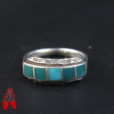 Vintage Navajo green turquoise channel inlay sterling silver ring sz 7