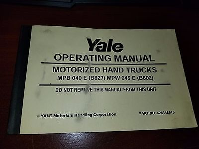 YALE PARTS Maintenance Manual For Models MPW 045 DA A802
