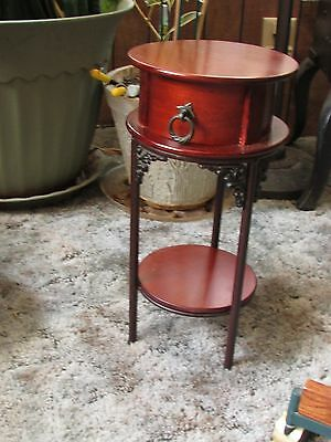 "SMALL ROUND END TABLE, 18"" tall VINTAGE MAHOGANY STAIN W/DRAWER & BOTTOM SHELF"