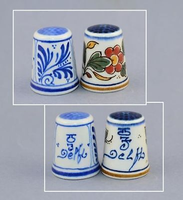 Delft Hand Painted Pair Thimbles