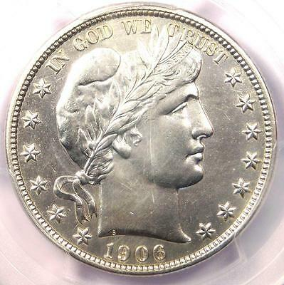 1906 Barber Half Dollar 50C - PCGS AU Details - Rare Date - Certified Coin!