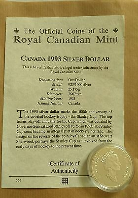 1893-1993 CANADA SILVER $1  DOLLAR COIN- 925 silver with COA.