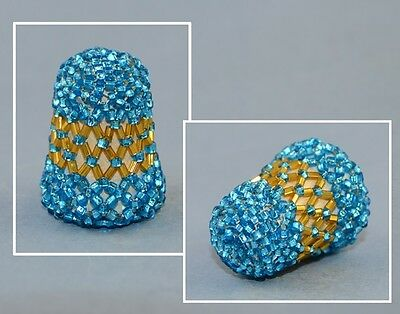 Russian Beadwork Blue Thimble