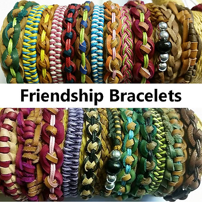 Friendship Bracelet Leather Braided Surfer Assorted Colours Mens Womens Kids NEW