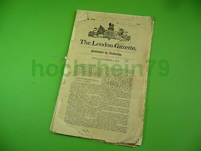 504KF1 Alte englische Zeitung: The London Gazette. Friday, November 3, 1905.