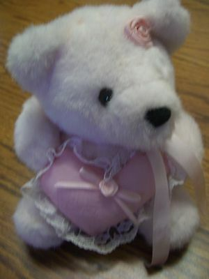 "Valentine's White Bear Plush/Pink  Heart with White Lace/Pink Ribbons/7"" Tall"
