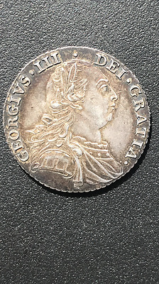 1787 George III Early Milled Silver Shilling, very good grade