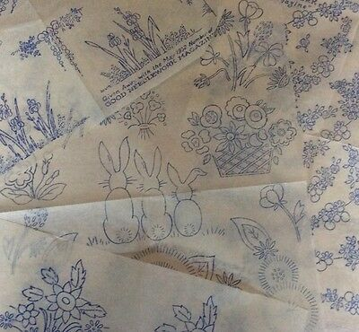 Vintage 1930s 40s Needlework Embroidery Transfers x4 Floral Flowers Animals (2)