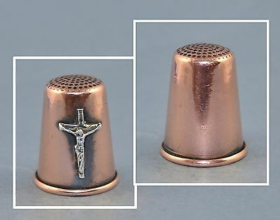 Felix Morel Copper Thimble - Silver Crucifix
