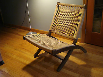 Vintage Mid Century Folding Rope Danish Hans Wegner Style Lounge Chair