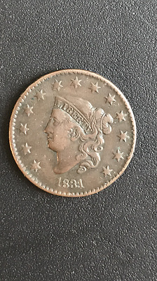 """1831  """"Med Letters"""" Matron or Coronet Head Large Cent Coin 1c"""