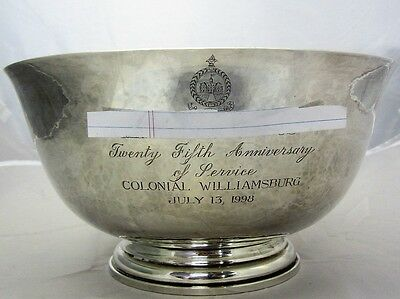 "Sterling Silver ""25Th Anniversary Of Service"" Colonial Williamsburg Bowl 1100.4G"