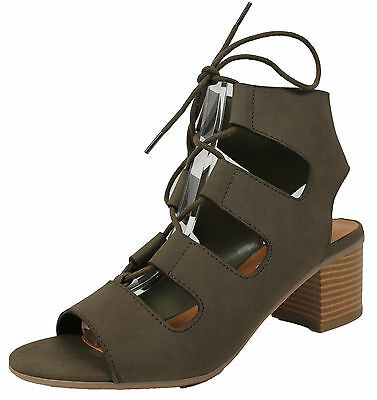 5324fe9777c7 City Classified Women s Open Toe Lace Up Cutout Stacked Chunky Heel Sandal